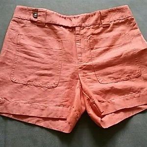 Anthropologie Orange size 4 linen cotton shorts